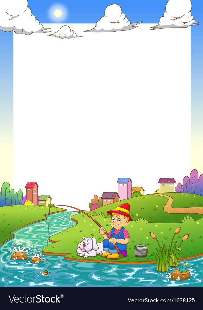 Fishing boy frame vector | Price: 3 Credit (USD $3)