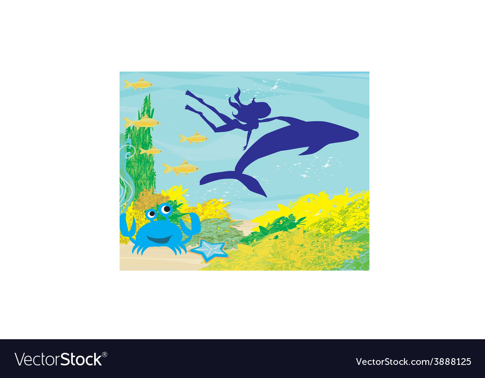 The girl-diver floats together with a dolphin vector   Price: 1 Credit (USD $1)