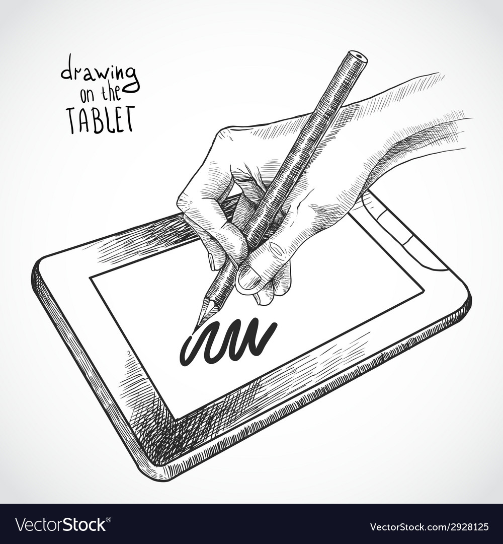 Hand drawing on the tablet vector | Price: 1 Credit (USD $1)