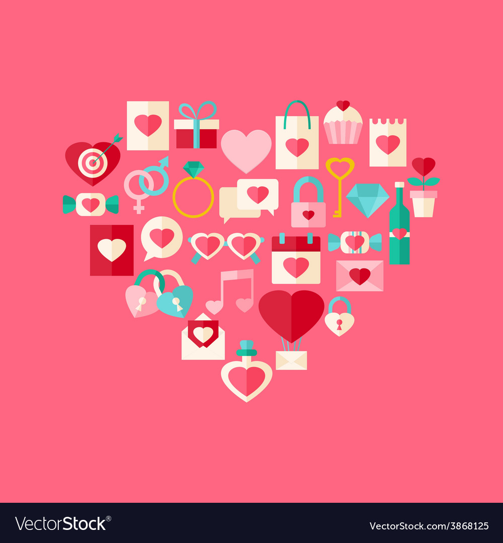 Heart shaped valentine day flat style icon set vector | Price: 1 Credit (USD $1)