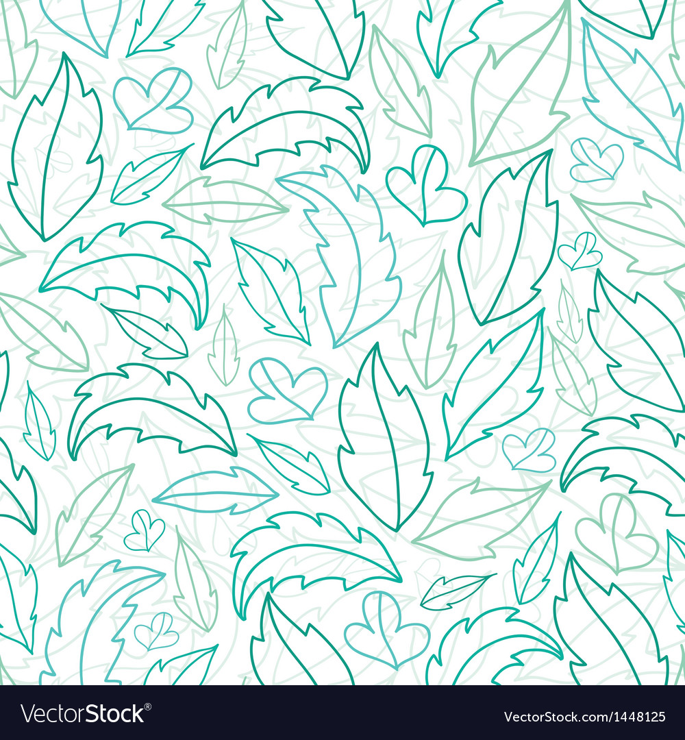 Leaves lineart seamless pattern background vector | Price: 1 Credit (USD $1)