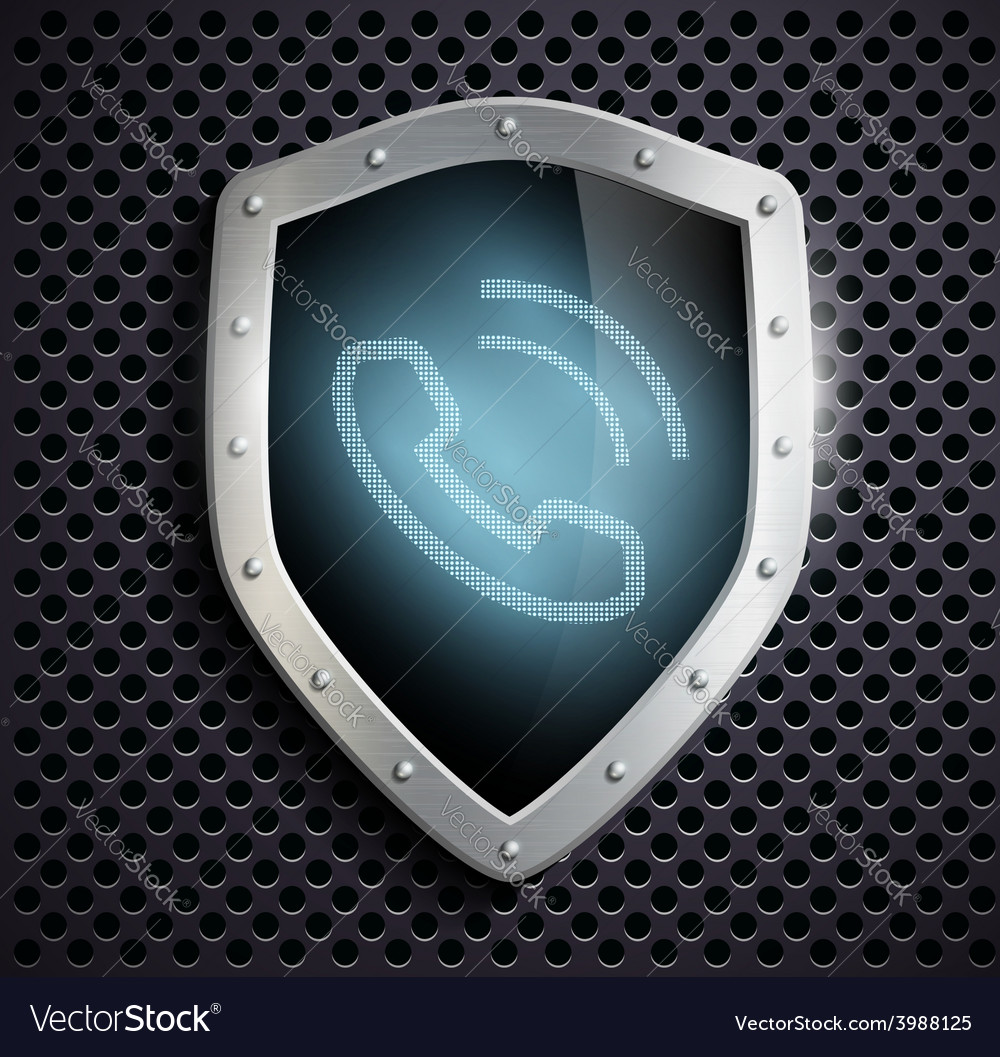 Metal shield with the image of the handset vector | Price: 1 Credit (USD $1)