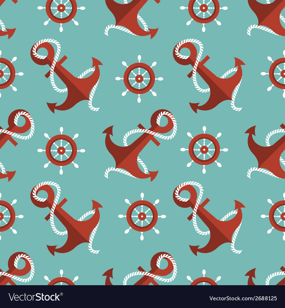 Navigation seamless pattern with an anchor and a vector | Price: 1 Credit (USD $1)