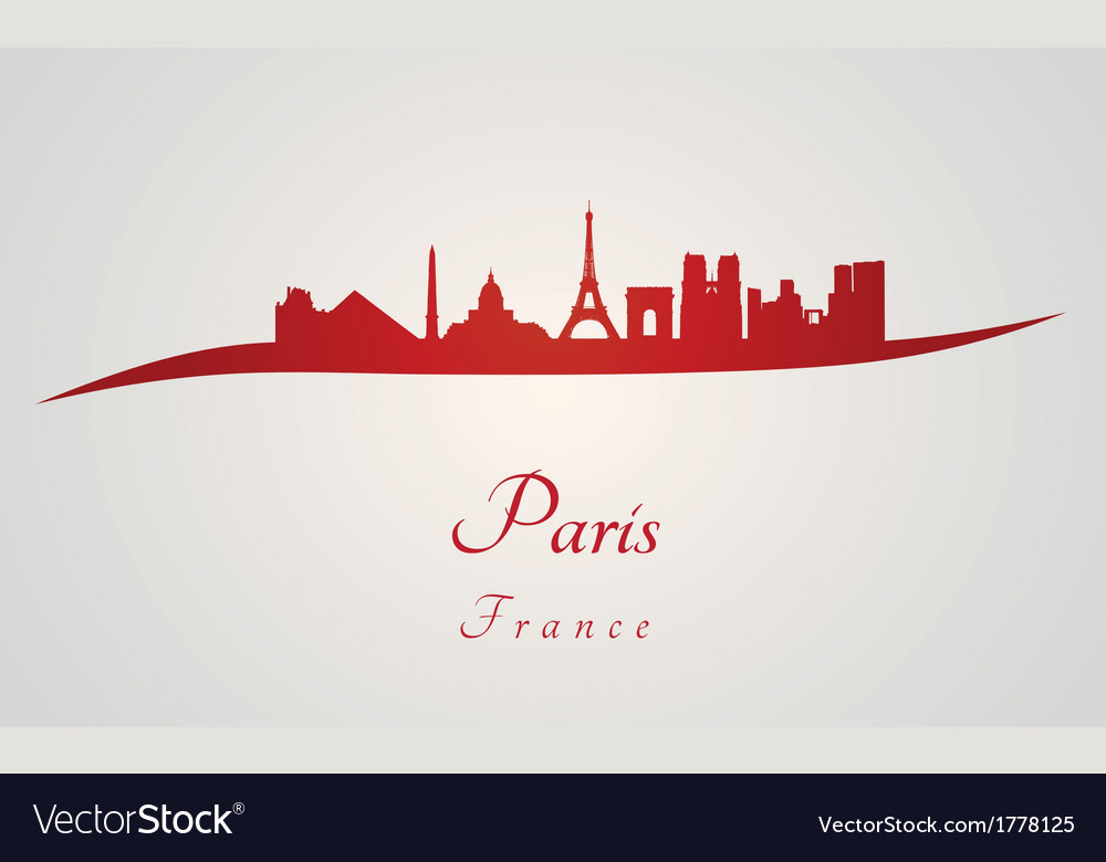Paris skyline in red vector | Price: 1 Credit (USD $1)
