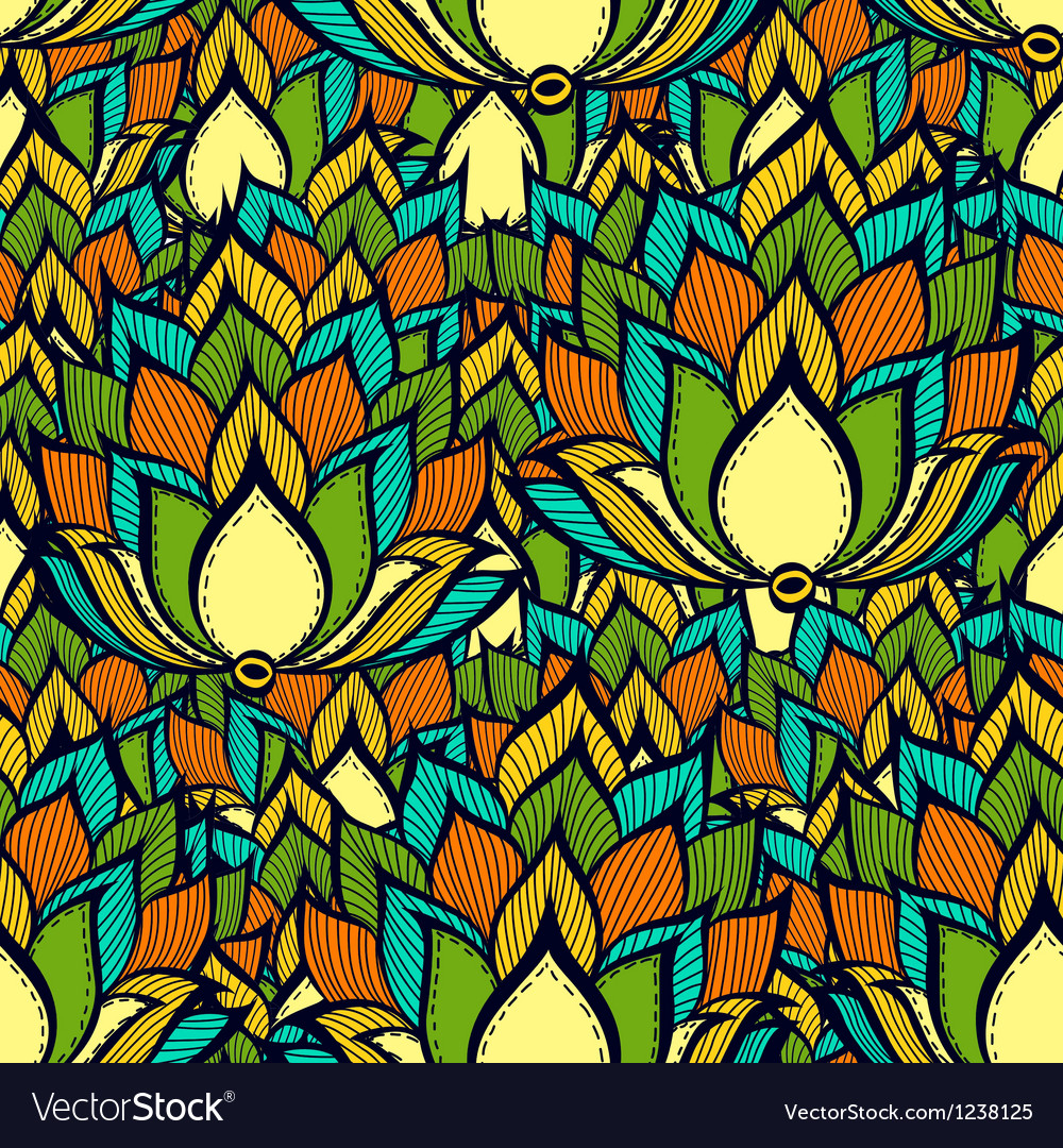 Retro pattern with green handdrawn flowers vector | Price: 1 Credit (USD $1)