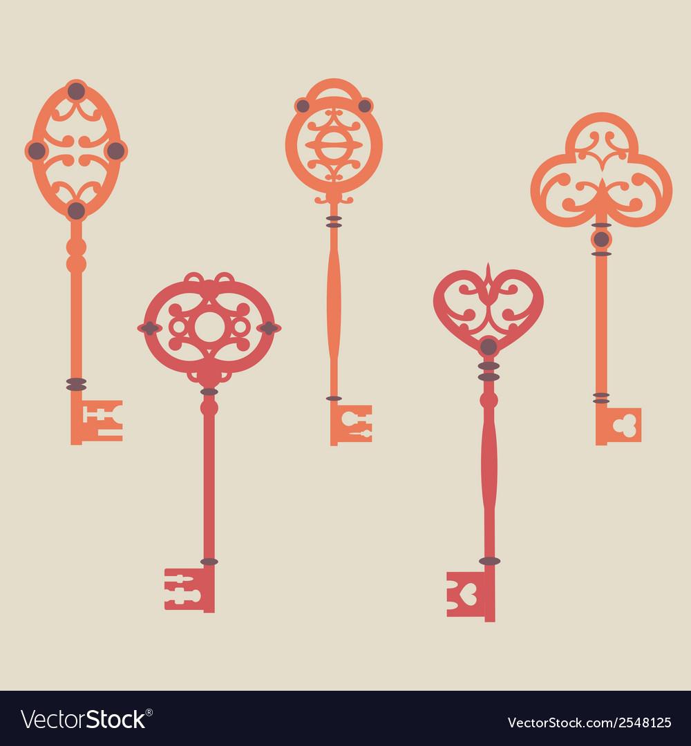 Set of cute vintage keys vector | Price: 1 Credit (USD $1)