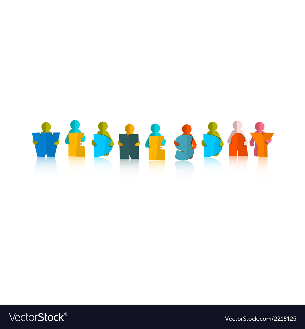 Wednesday colorful title - paper cut people and vector | Price: 1 Credit (USD $1)