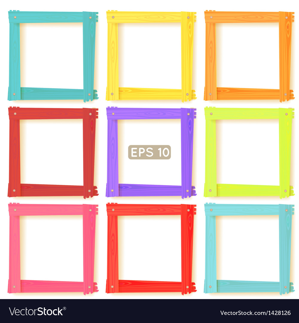 9 wooden picture frames color set vector | Price: 1 Credit (USD $1)