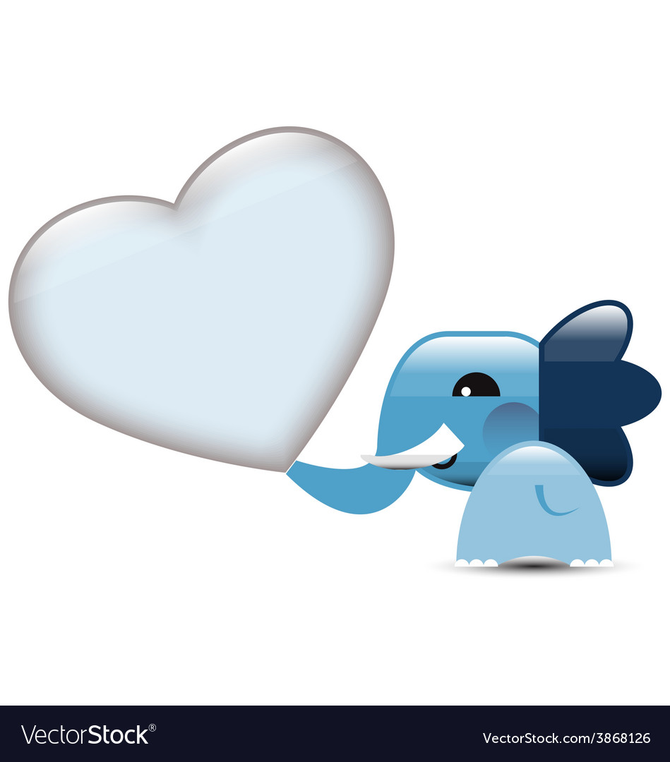 Blue valentine elephant with hearts vector | Price: 1 Credit (USD $1)
