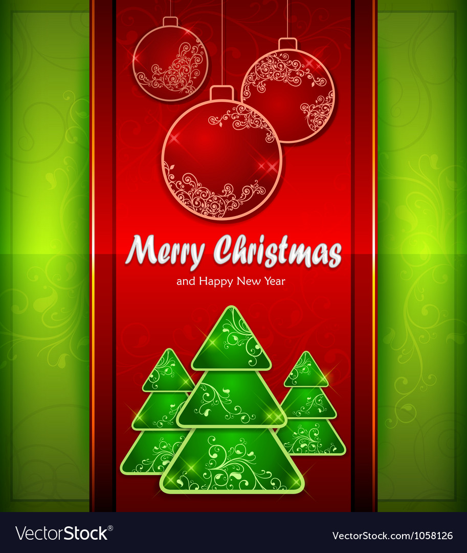 Christmas red balls green tree color background vector | Price: 1 Credit (USD $1)
