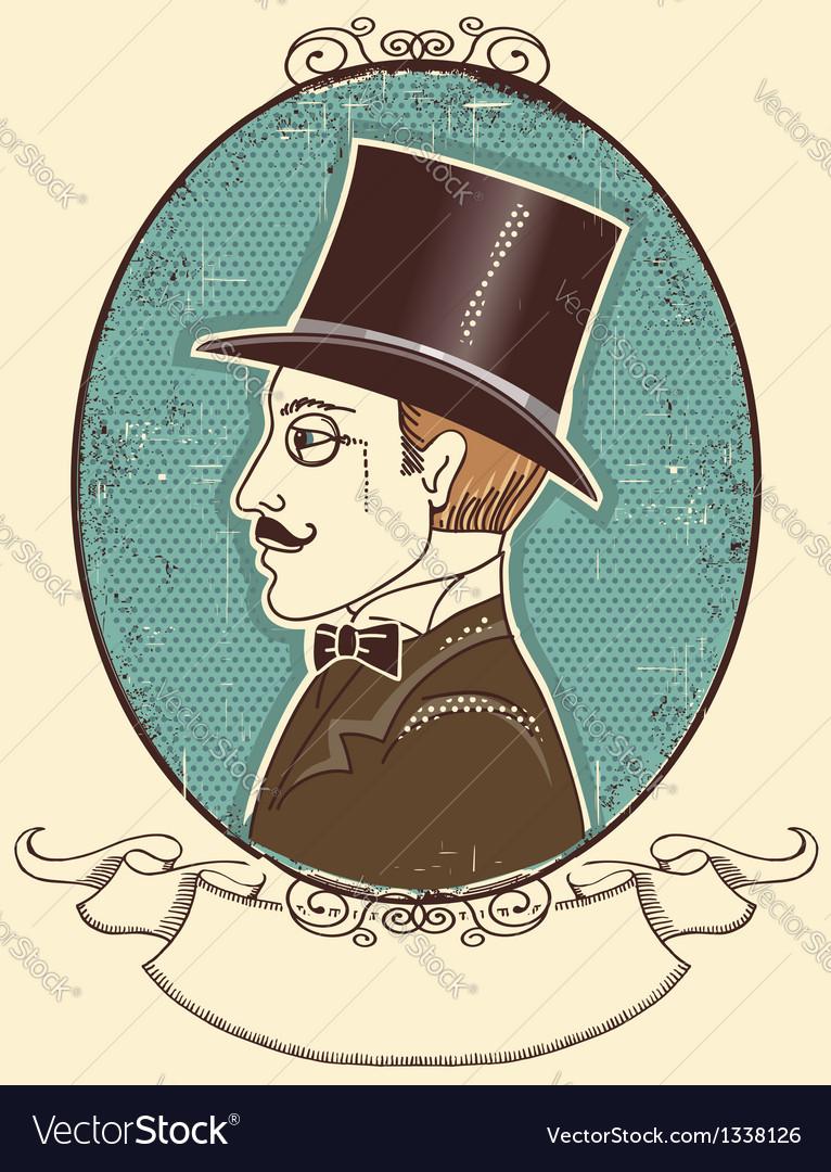 Elegant gentleman in a top black hat vector | Price: 1 Credit (USD $1)