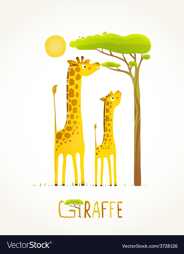 Fun cartoon african giraffe animals eating foliage vector | Price: 1 Credit (USD $1)