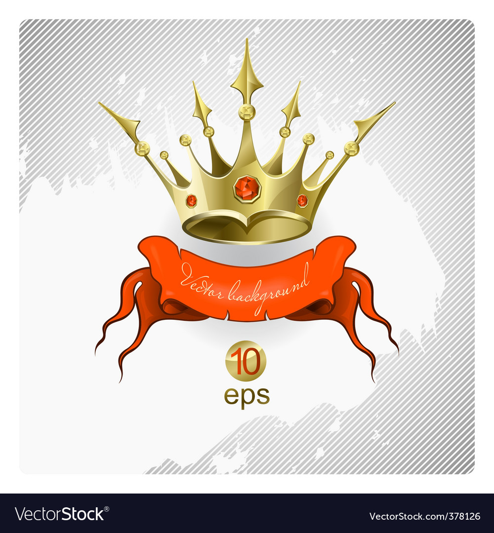 Gold crown with red stones vector | Price: 3 Credit (USD $3)