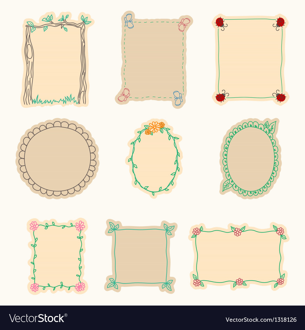 Hand drawn frames set 4 vector | Price: 1 Credit (USD $1)