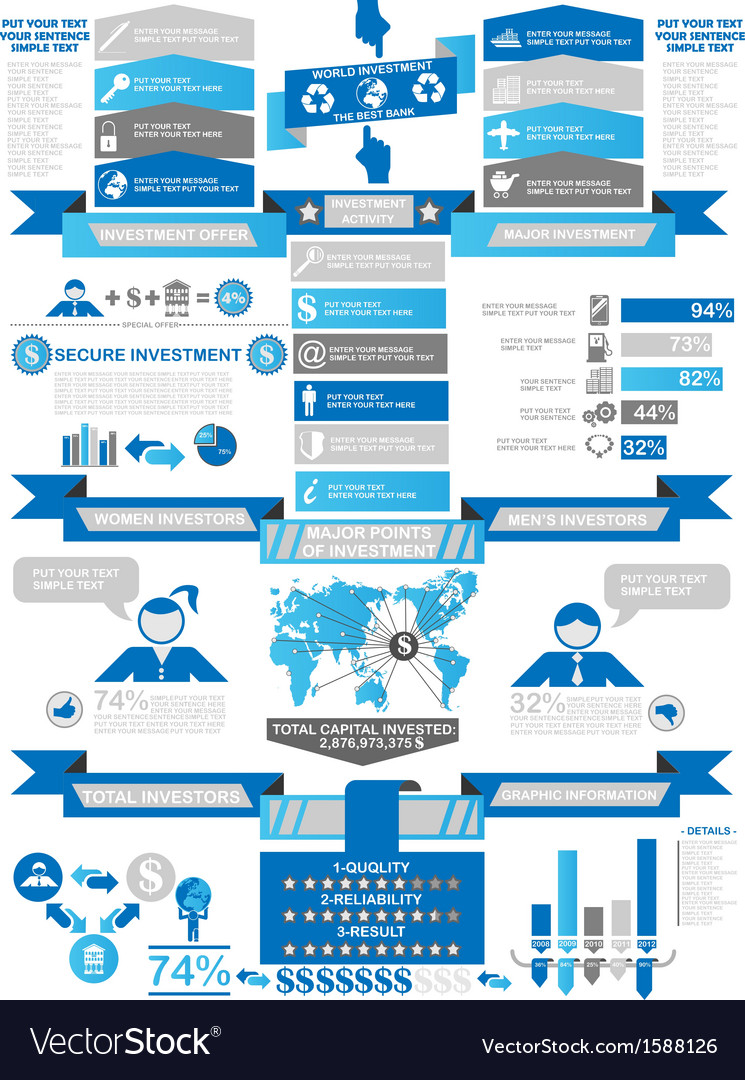 Infographic demographics business blue vector | Price: 1 Credit (USD $1)