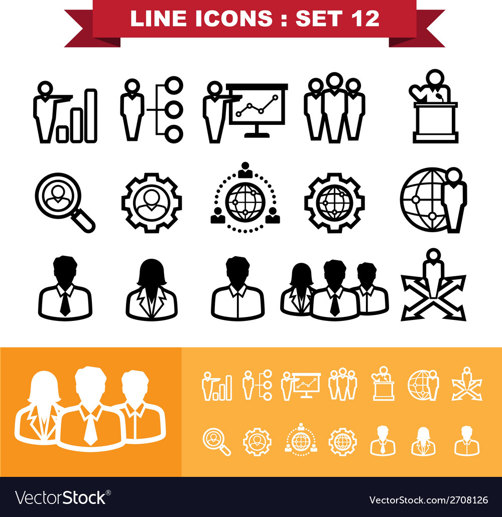 Line icons set 12 vector | Price: 1 Credit (USD $1)
