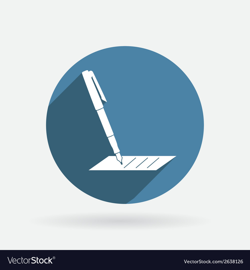 Pen writing on a sheet circle blue icon vector | Price: 1 Credit (USD $1)