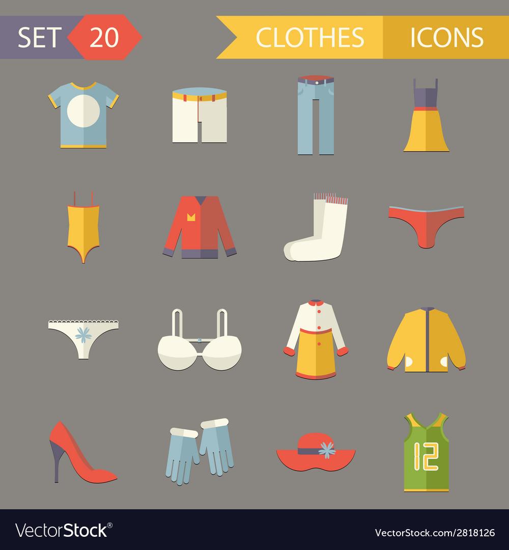 Retro clothesl symbols accessories icons set vector | Price: 1 Credit (USD $1)