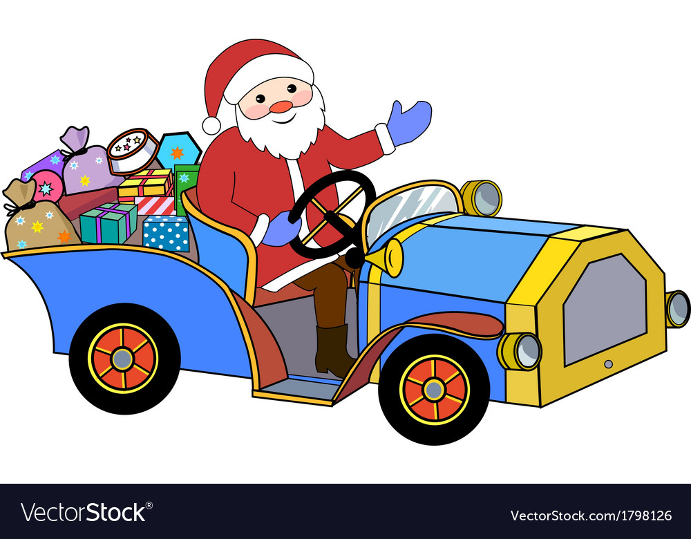 Santa claus and retro car vector | Price: 1 Credit (USD $1)