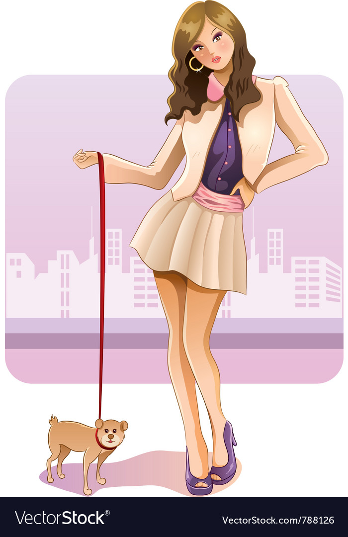 Sexy girl with puppy vector | Price: 3 Credit (USD $3)