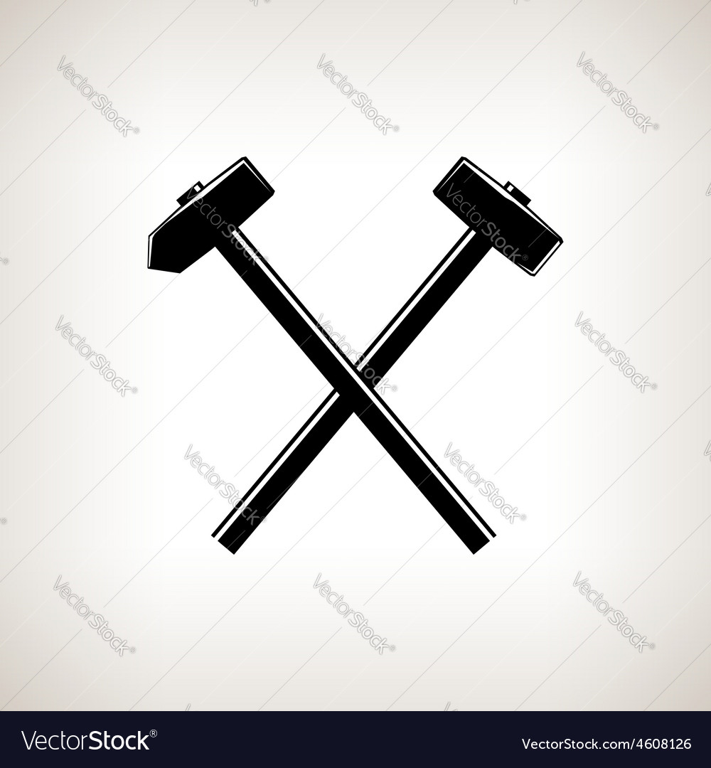 Silhouette of a crossed hammer and sledgehammer vector | Price: 1 Credit (USD $1)