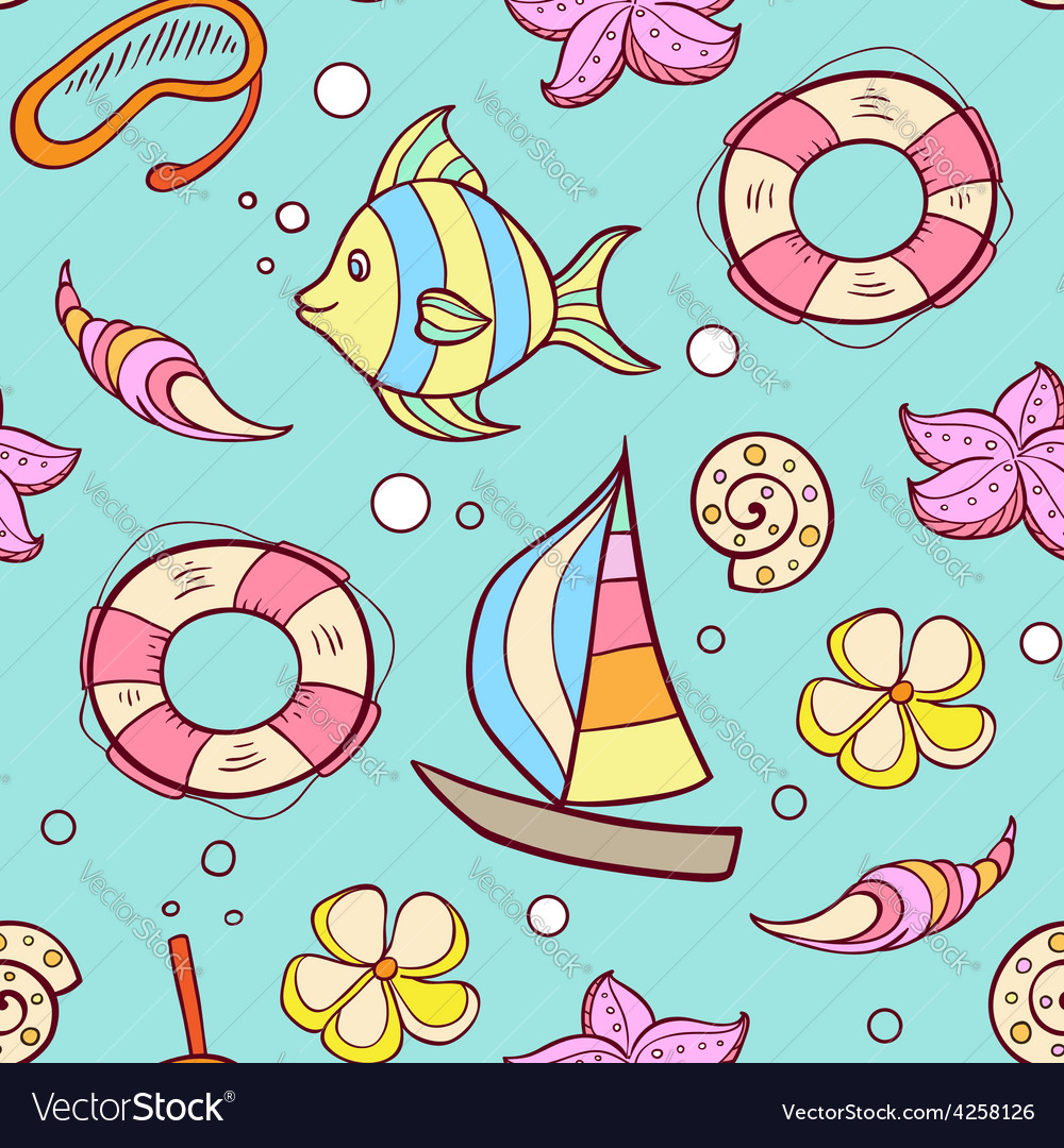 Summer marine seamless pattern vector | Price: 1 Credit (USD $1)