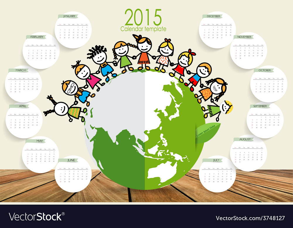2015 calendar cute children on green eco earth vector | Price: 1 Credit (USD $1)