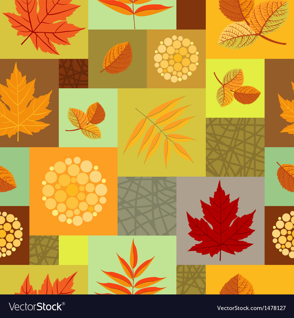 Autumn leaves and abstract berries seamless vector | Price: 1 Credit (USD $1)
