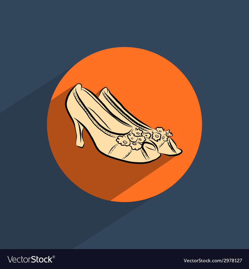 Female shoes flat doodle icon vector | Price: 1 Credit (USD $1)