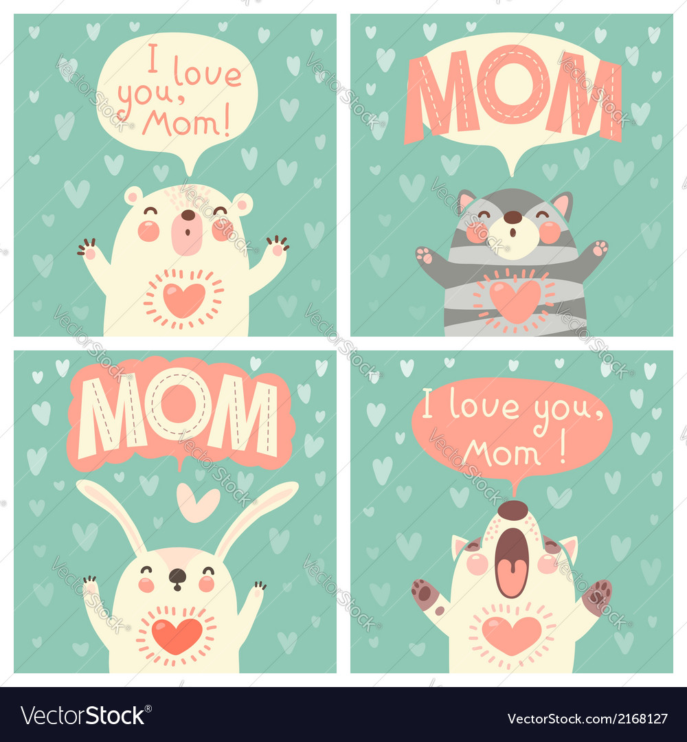 Greeting card for mom with cute animals vector | Price: 1 Credit (USD $1)