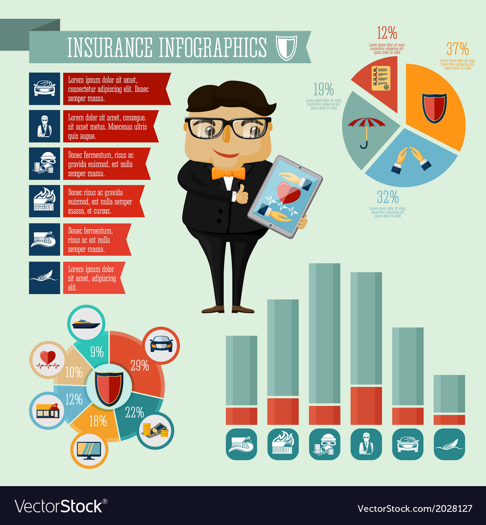 Insurance company agent infographics design vector | Price: 1 Credit (USD $1)