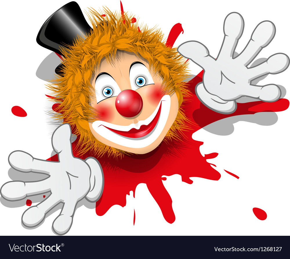 Redhaired clown in white gloves vector | Price: 1 Credit (USD $1)