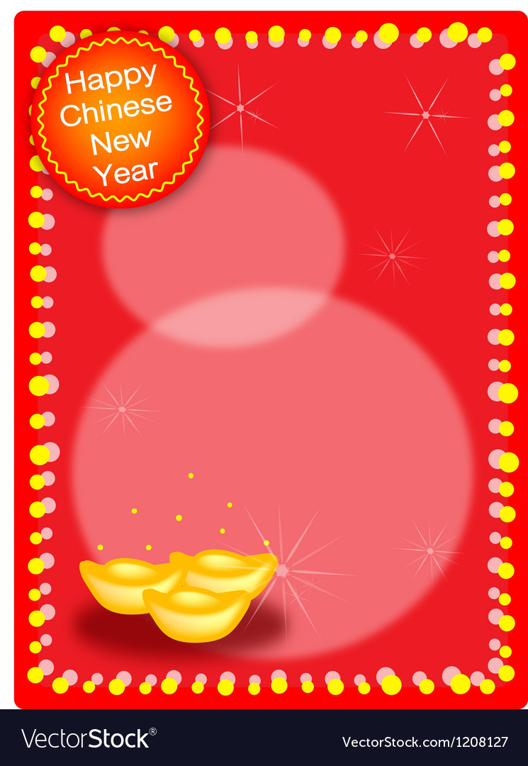 Three gold ingot on chinese new year background vector | Price: 1 Credit (USD $1)
