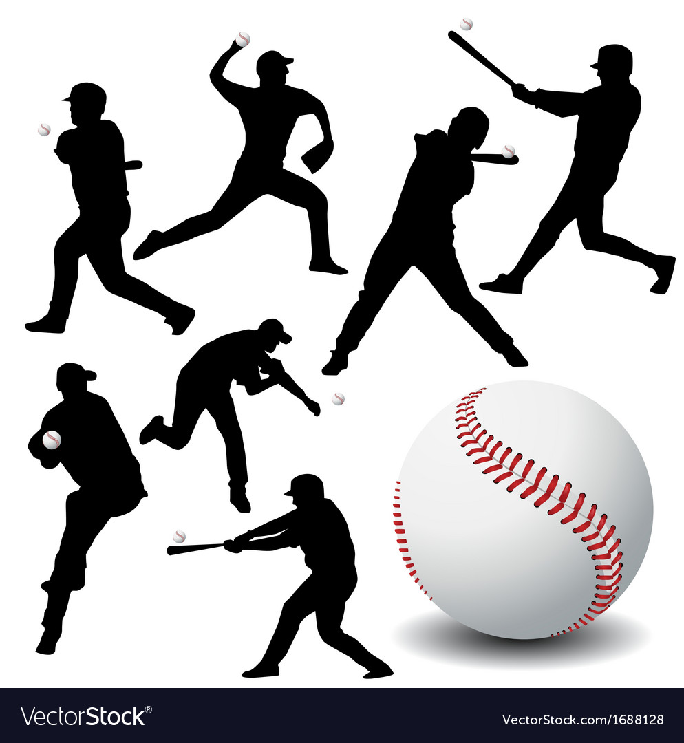 Baseball silhouettes vector | Price: 1 Credit (USD $1)