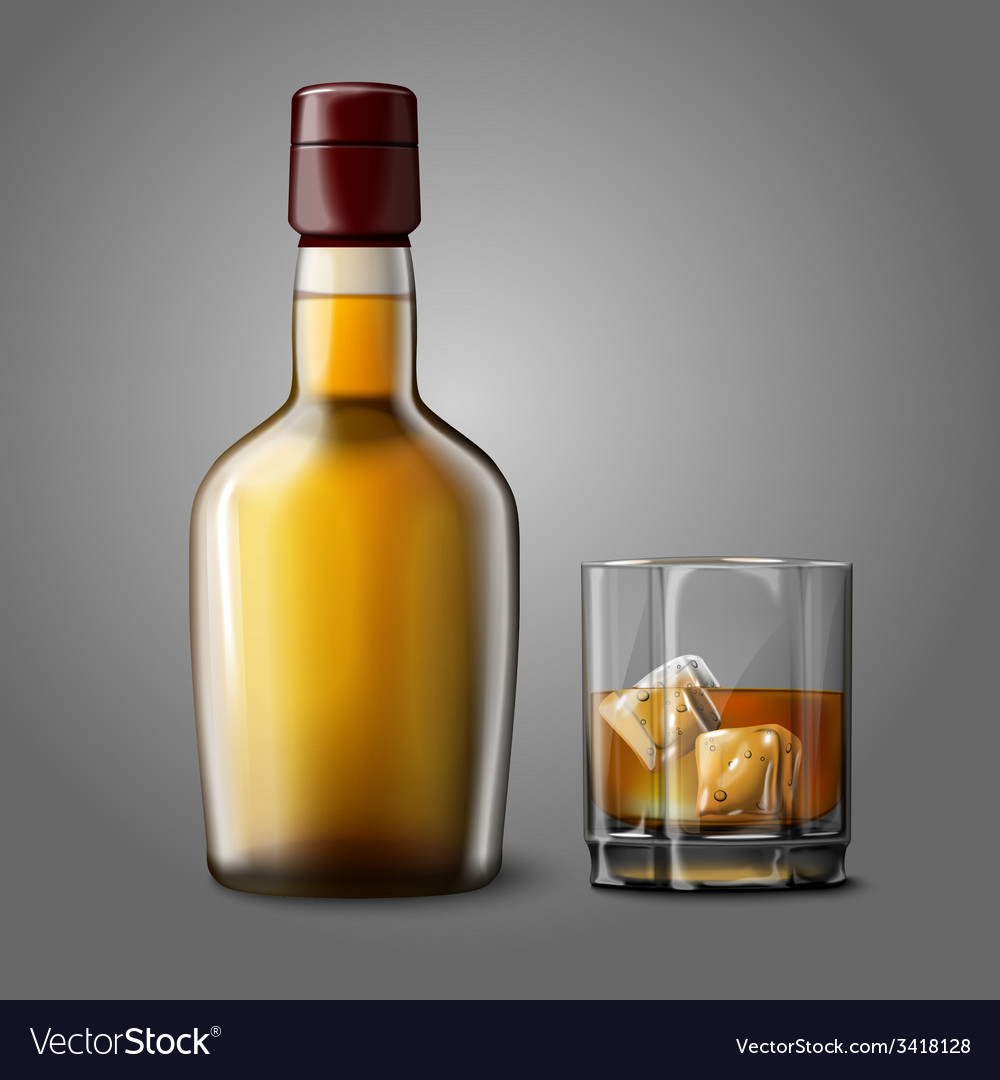 Blank realistic bottle with glass of whiskey and vector | Price: 1 Credit (USD $1)