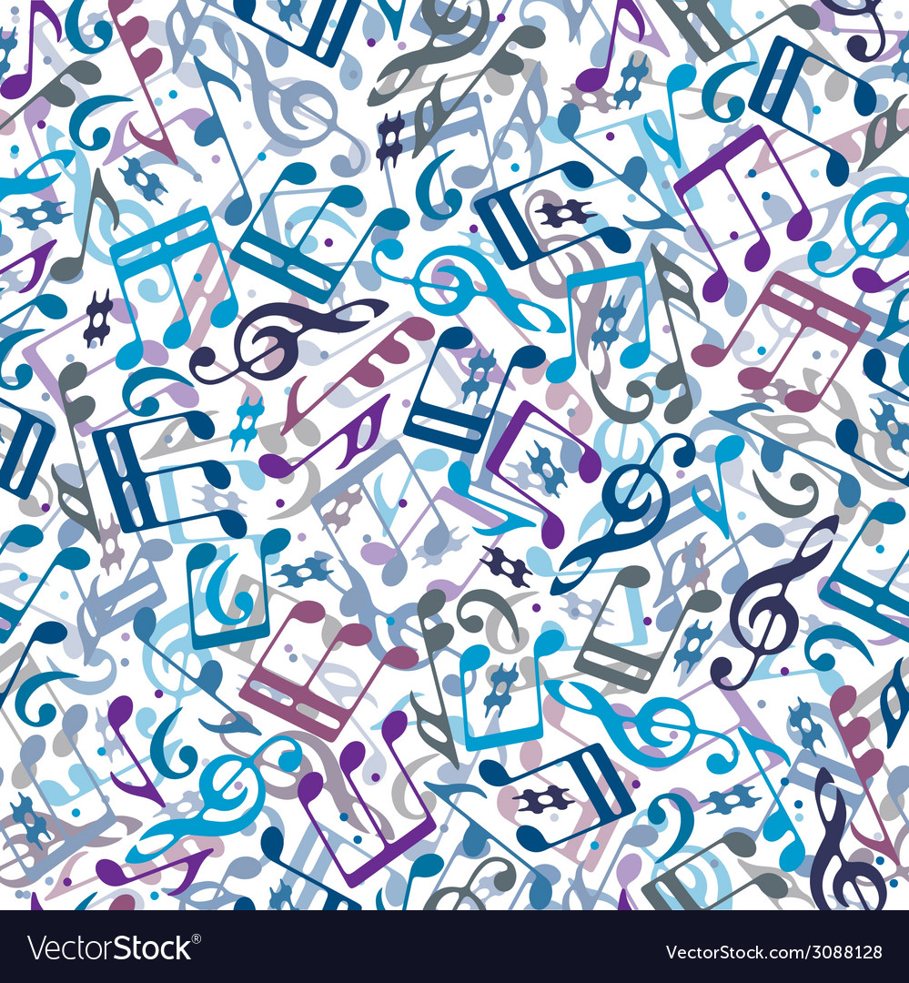 Colorful musical notes seamless pattern vector | Price: 1 Credit (USD $1)