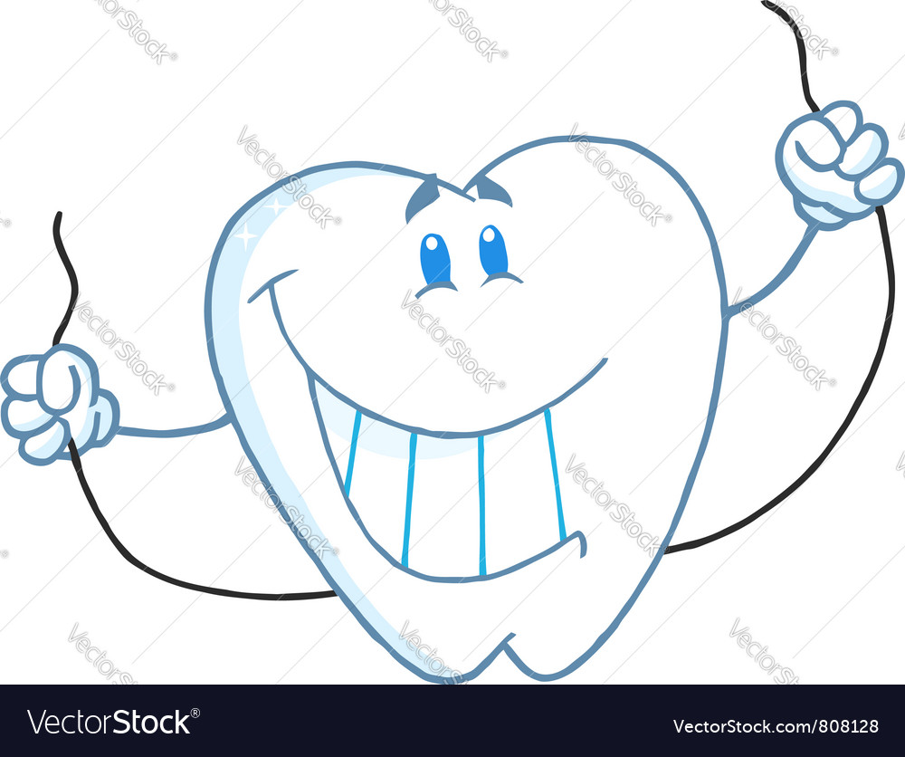 Dental tooth character holding floss vector | Price: 1 Credit (USD $1)