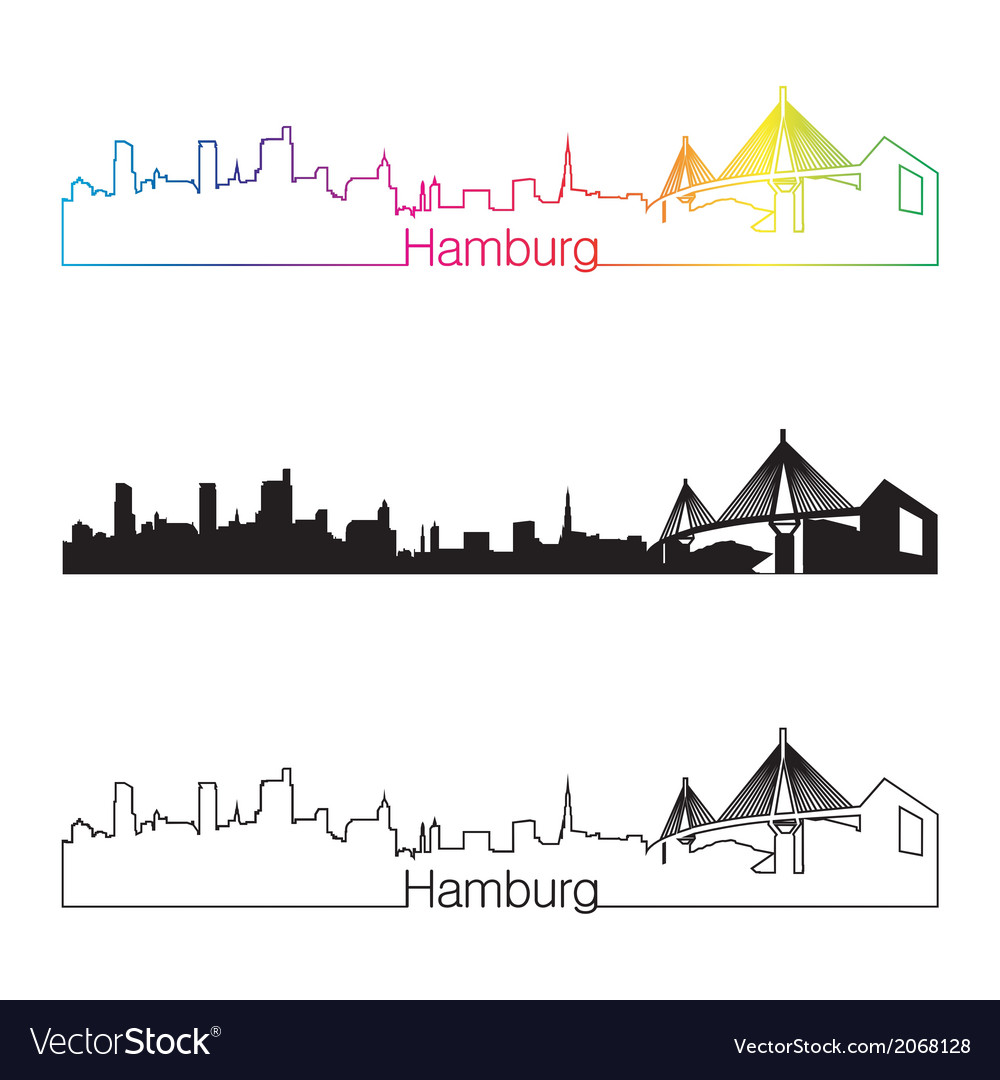 Hamburg skyline linear style with rainbow vector | Price: 1 Credit (USD $1)