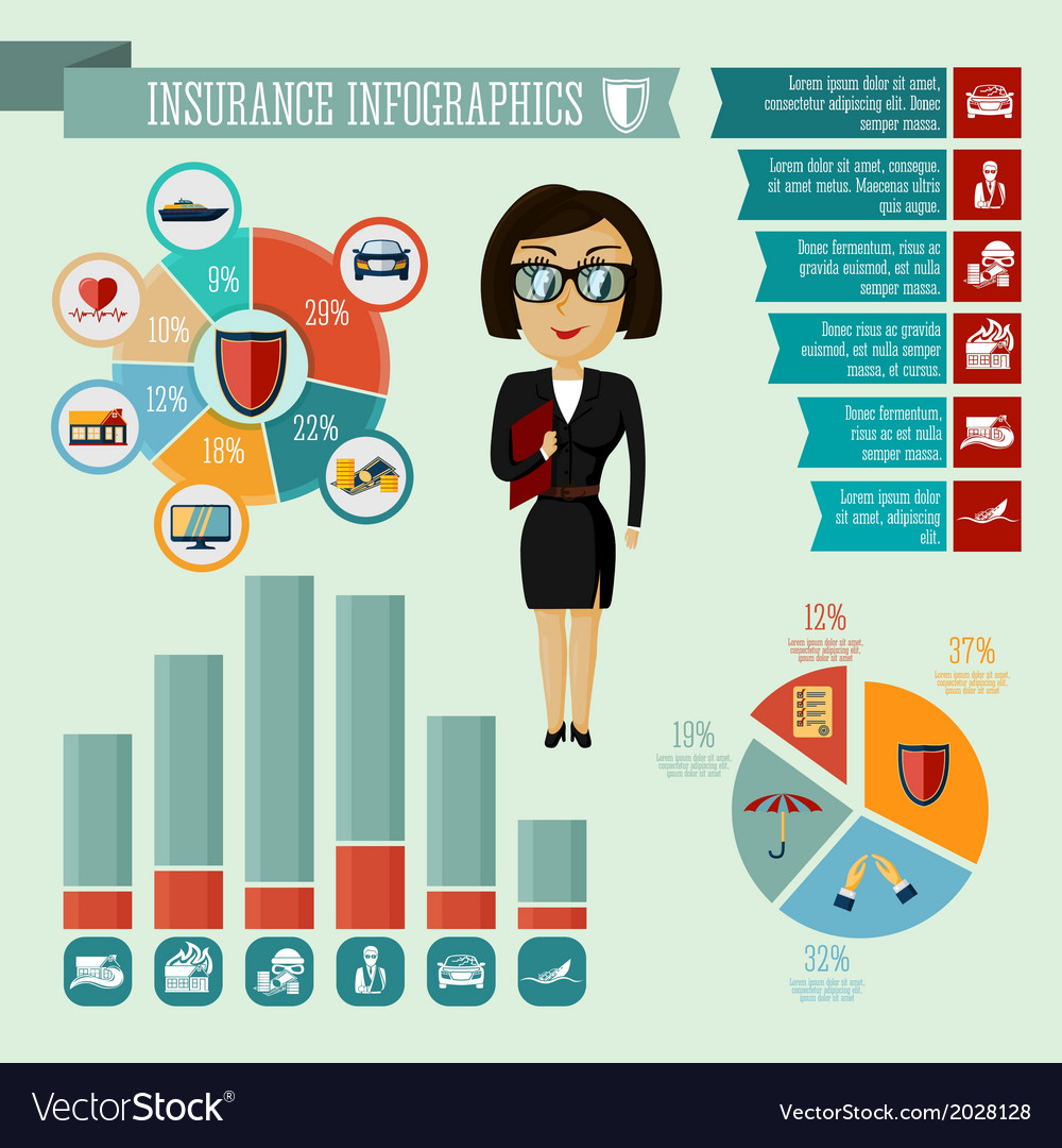 Insurance company agent infographics design vector | Price: 1 Credit (USD $1)