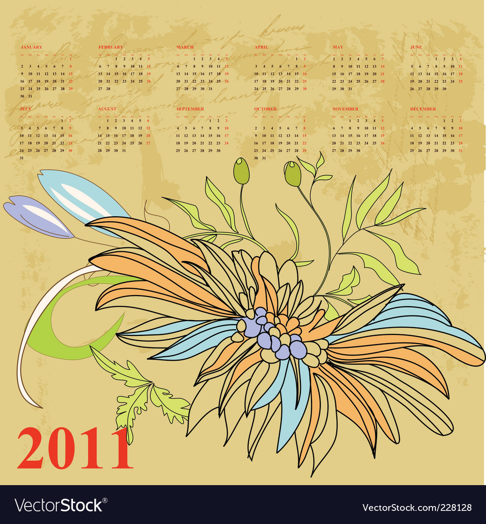 Retro stylized calendar for 2011 vector | Price: 1 Credit (USD $1)