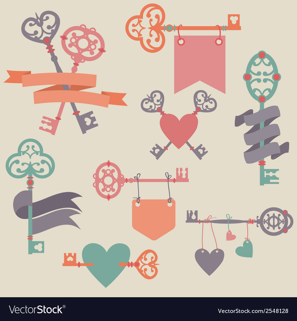 Set with vintage keys ribbons and hearts can be vector | Price: 1 Credit (USD $1)