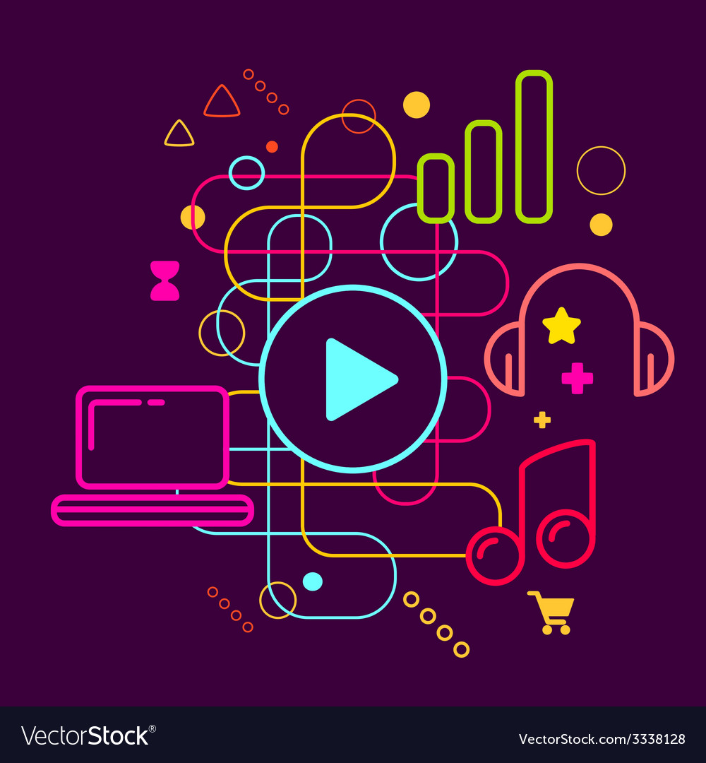 Symbols of listening to music on the computer on vector