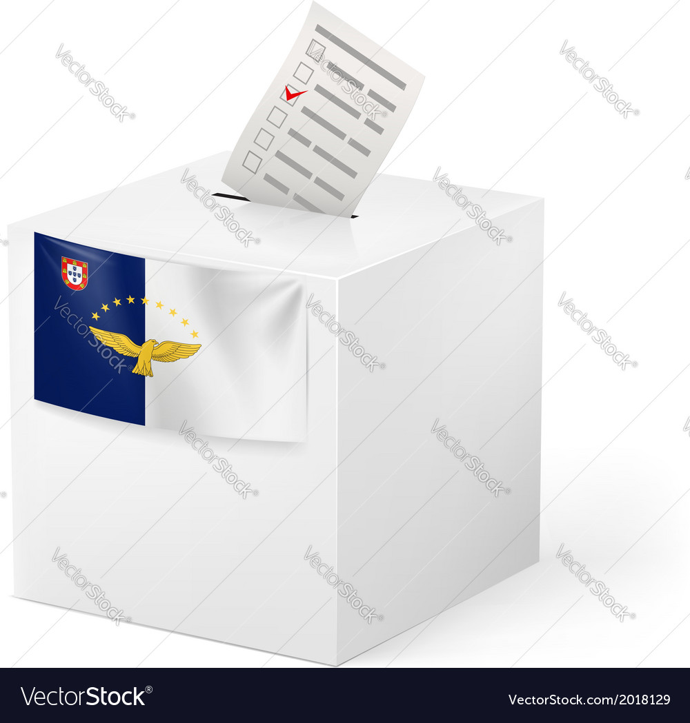 Ballot box with voting paper azores vector | Price: 1 Credit (USD $1)