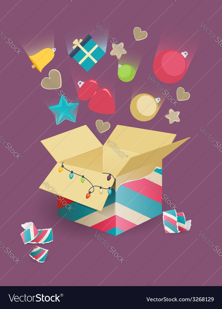 Christmas decorations falling into a box vector | Price: 1 Credit (USD $1)