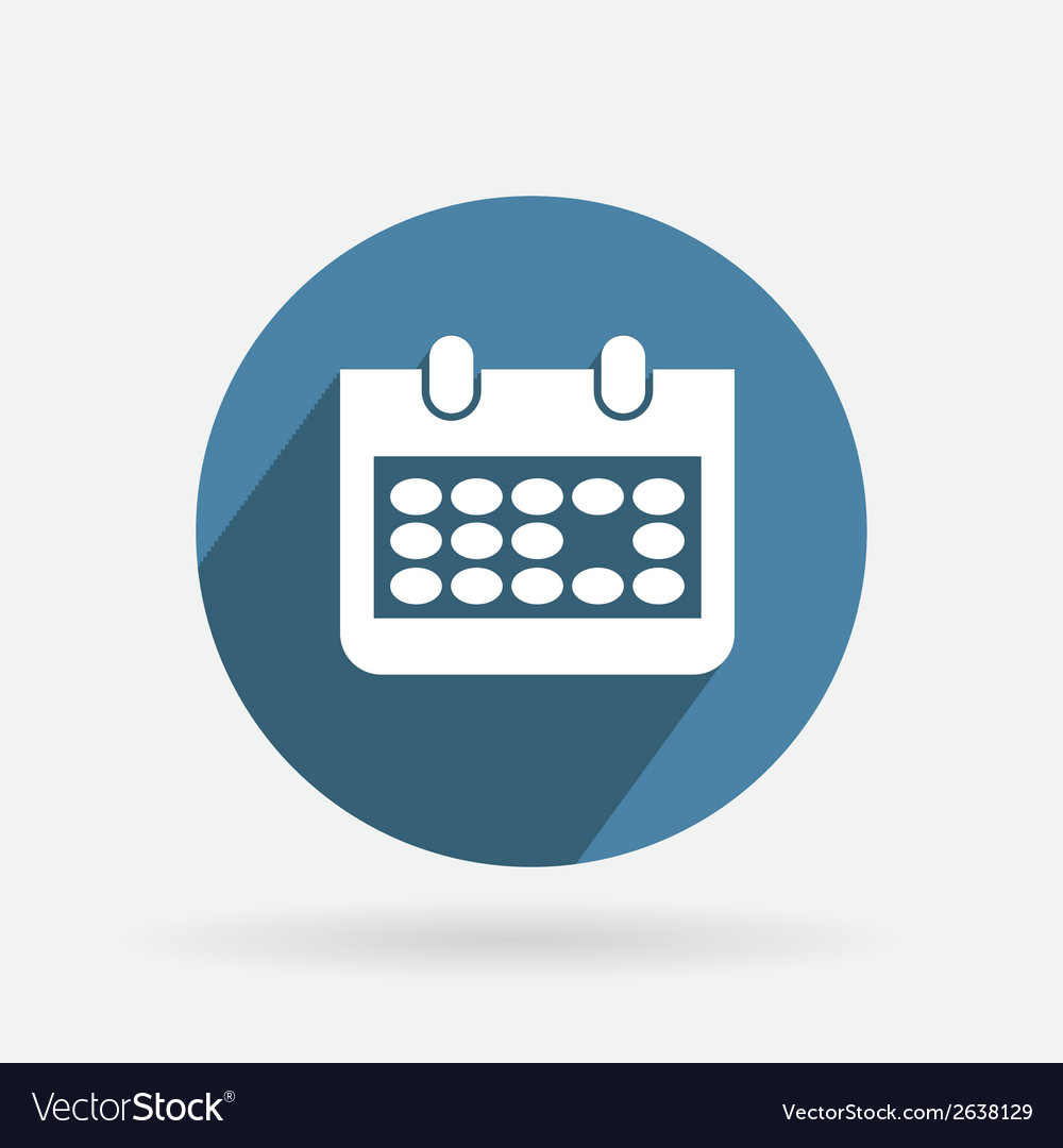 Circle blue icon with shadow calendar vector | Price: 1 Credit (USD $1)