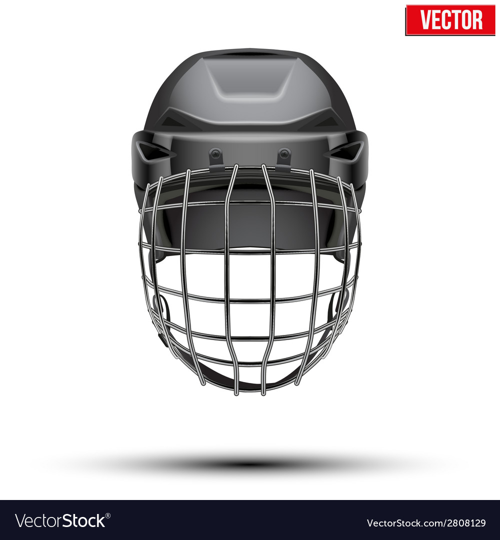 Classic black goalkeeper hockey helmet isolated on vector | Price: 1 Credit (USD $1)