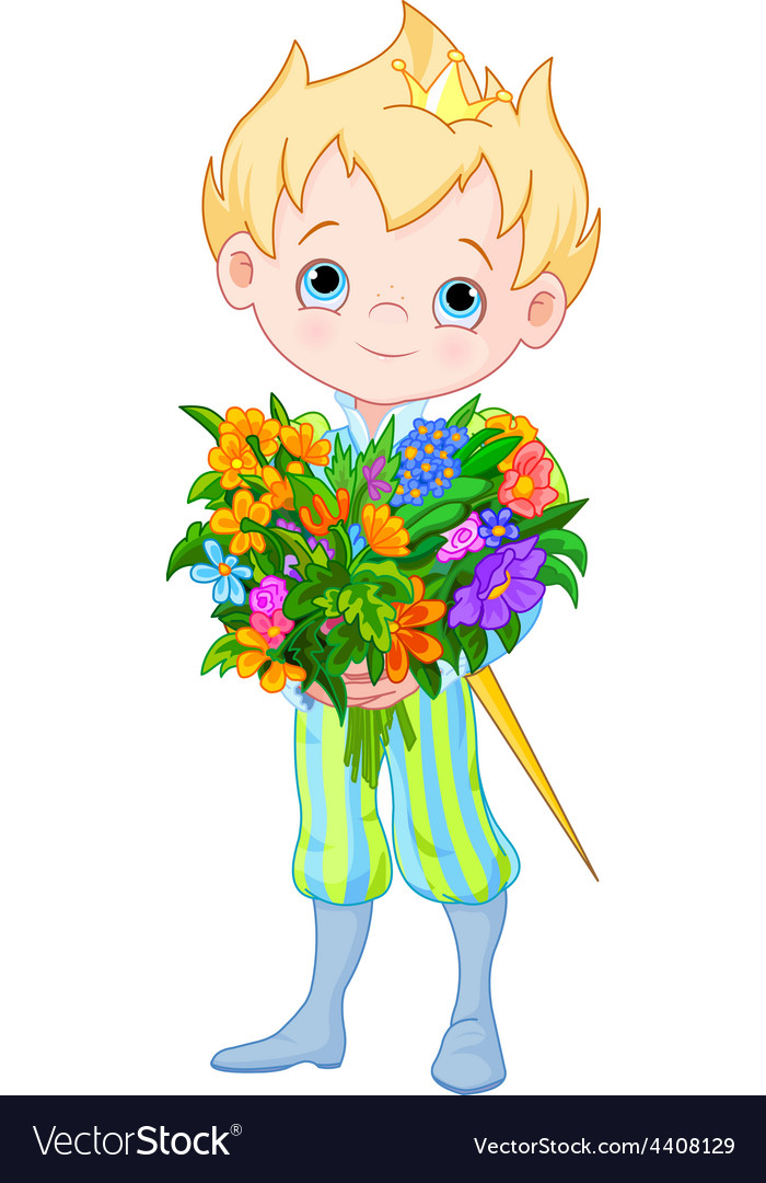 Cute little prince holds flowers vector | Price: 1 Credit (USD $1)