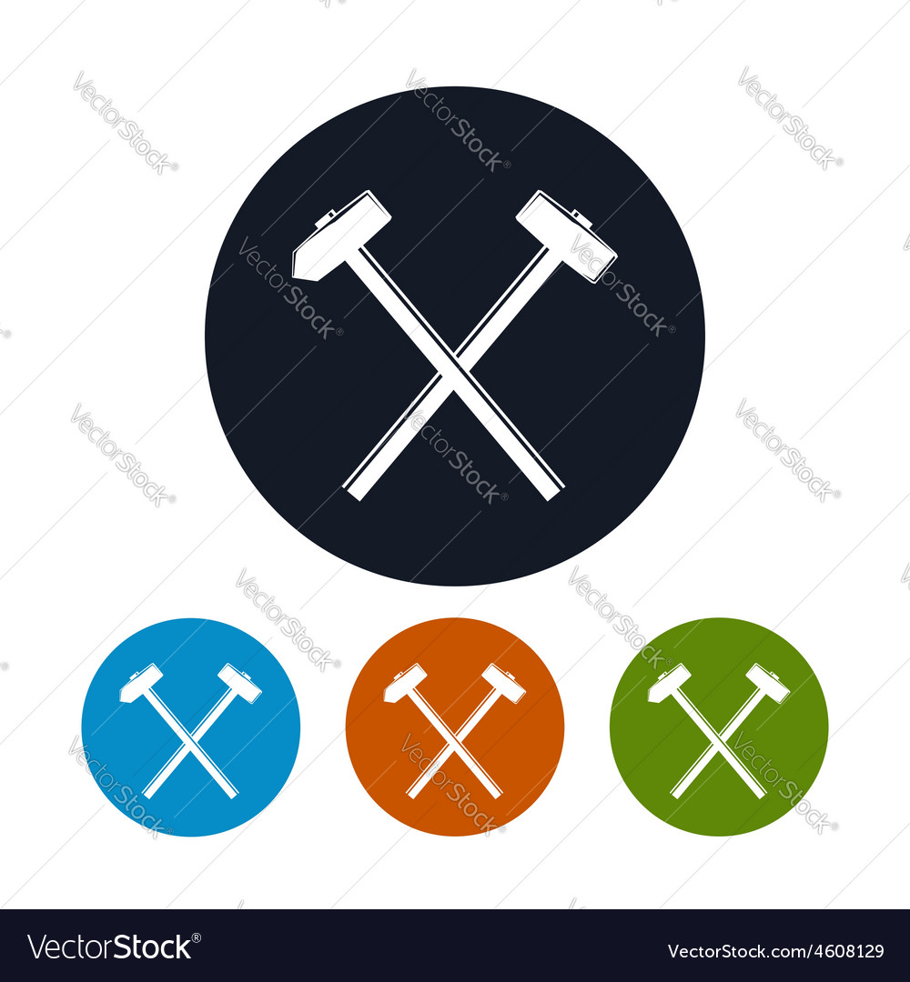 Icon of a crossed hammer and sledgehammer vector | Price: 1 Credit (USD $1)