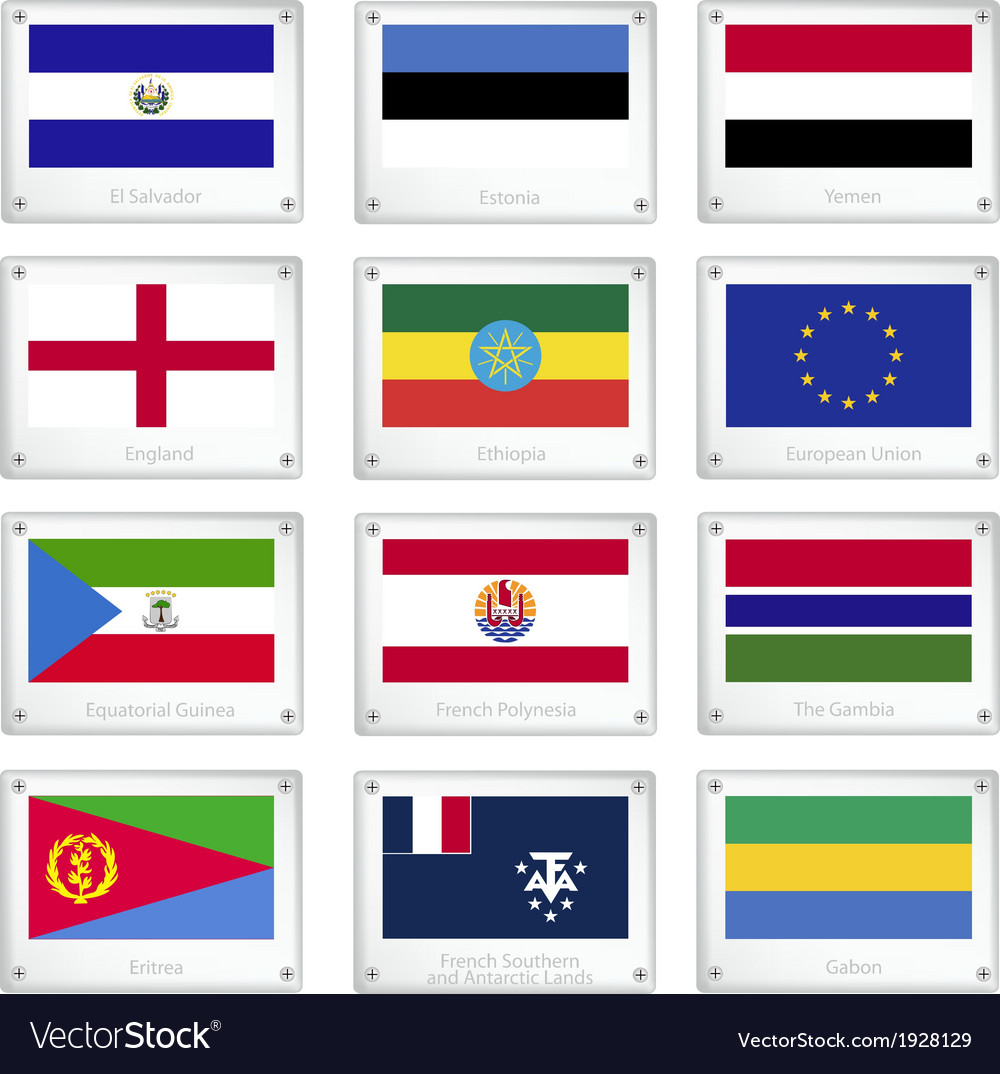 National flags on metal texture plate vector | Price: 1 Credit (USD $1)