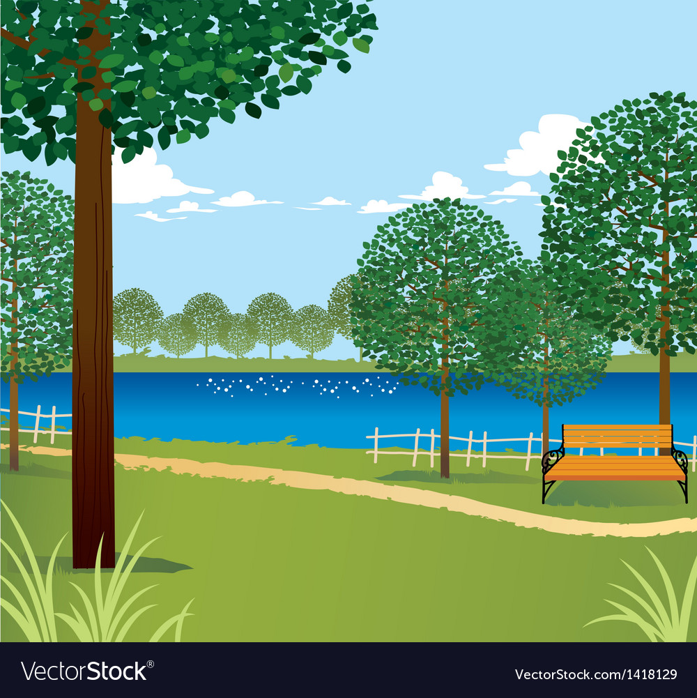 Park scene background vector | Price: 1 Credit (USD $1)